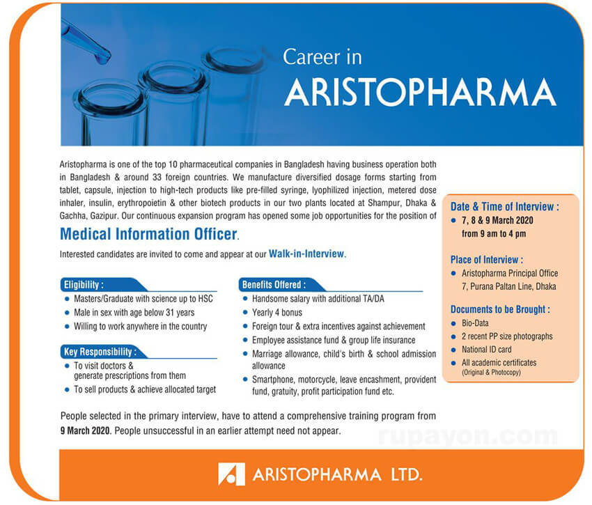 aristopharma job circular 2020
